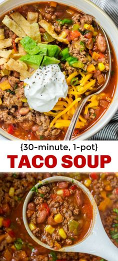 How to make Taco Soup! This is the easiest taco soup recipe - it comes together in one pot and is pure comfort food. How to make Taco Soup! This is the easiest taco soup recipe - it comes together in one pot and is pure comfort food. Crock Pot Recipes, Easy Soup Recipes, Cooking Recipes, Healthy Recipes, Healthy Food, Recipes Dinner, Recipe For Taco Soup, Mexican Taco Soup Recipe, Easy Comfort Food Recipes