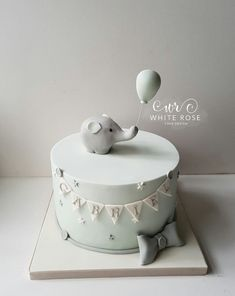 Elephant Christening Cake by White Rose Cake Design Bespoke Cake Maker in West Y. - Elephant Christening Cake by White Rose Cake Design Bespoke Cake Maker in West Yorkshire - Baby Birthday Cakes, Baby Boy Cakes, Girl Cakes, Babyshower Cake Boy, Gateau Baby Shower, Baby Shower Cakes, Baby Shower Cake Decorations, Baby Boy Christening Cake, Baby Elephant Cake