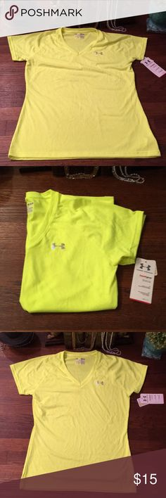 NWT Under Armour V-Neck Neon Yellow - Semi-Fitted - wear to feel cool, dry, & light. Under Armour Tops Tees - Short Sleeve