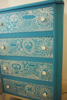 Vintage Retro Mid Century Chest of Drawers turquoise white white sugar skull/ day of the dead skulls and folk art patterns Funky Furniture, Retro, Redo Furniture, Upcycled Furniture, Retro Mid Century, Skull Decor, Retro Vintage, Furniture Makeover, Cool Furniture