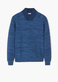 Shawl collar textured sweater