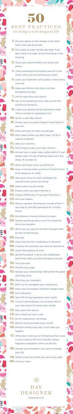 50 things to live a well designed life.