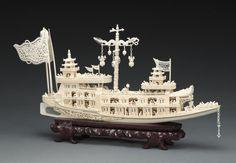 象牙船 (10), Art Ivory boat.