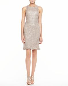Cap Sleeve Mesh & Sequin Top Cocktail Dress Champagne by Kay Unger