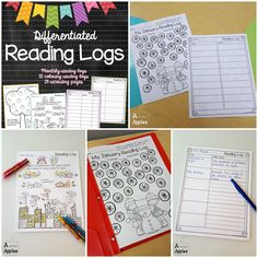 Differentiated Reading Logs - Students color an object for each book they read and use one of the recording pages to write the title or more! Themes for the whole year! Reading Logs, Reading At Home, Reading Centers, 2nd Grade Classroom, Primary Classroom, Classroom Resources, Teaching Reading, Guided Reading, 1st Grade Books