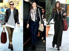 Miranda Kerr's amazing street style is at work - we love the three very different ways she wore this sexy Balenciaga by Nicolas Ghesquiere leather jacket! Fall Winter Outfits, Autumn Winter Fashion, Balenciaga Leather Jacket, Anne Hathaway Style, Cute Travel Outfits, Black And White Scarf, Miranda Kerr, Jacket Style, Casual Chic