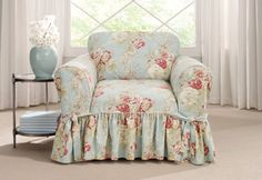 Sure-Fit-Chair-Slipcover-Ballad-Bouquet-by-Waverly-One-Robins-Egg-Box-Cushion1pc