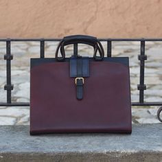 Custom Made Luxury Briefcase in Burgundy, Black and Navy Blue Painted Calf Leather From Robert August. Create your own custom designed shoes. Custom Made Shoes, Custom Design Shoes, Red Slippers, Leather Slippers, Black Patent Leather, Calf Leather, Leather Bag, Black And Navy, Navy Blue