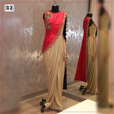 The Smart Indian Evening Wear in a Indo Western Gown,A lovely golden draped gown with a top Jacket Overcoat. For Instant Price and Queries Whatsapp - +91-9913433322