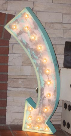 "Huge 36"" Old Vintage Style Marquee Arrow Metal Steel........... Restaurant…"