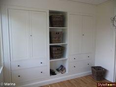 bookcase + storage in hallway? Bookcase Storage, Tall Cabinet Storage, Locker Storage, Hemnes, Closet Bedroom, Home Bedroom, Laundry Room Bathroom, House Inside, Closet Designs