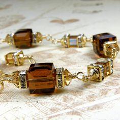 Chocolate Bracelet, Smoky Topaz Crystal Cube, Brown Swarovski Wedding, Bridesmaid Handmade Jewelry, Fall Fashion, Autumn, Gold Filled by fineheart