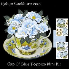 Cup Of Blue Poppies Shaped Card Mini Kit