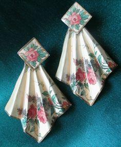 "Rare #Earrings 2¼"" Curtain Pleated paper shellack Rose Vintage Look Dangle Post  #Vintage #DropDangle"