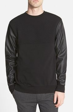 Topman Quilted Chest Panel Sweatshirt with Faux Leather Sleeves (Nordstrom Exclusive)