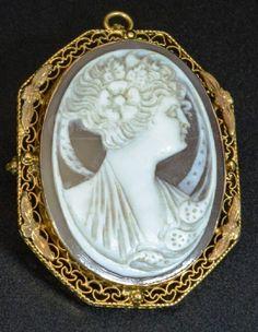shopgoodwill.com: 10k GOLD Art Nouveau Cameo Brooch Pendant Vintage