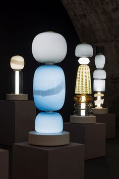 Colourful blown-glass totems by Luca Nichetto are among the works in Decode/Recode, Venetian glassmaker Salviati's exhibition at Milan design week. Lamp Design, Lighting Design, Glamping, Nature Architecture, Milan Design Week 2017, Room Lamp, Brass Lamp, Unique Lamps, Hand Blown Glass