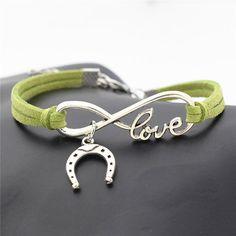 2c87b8f8e364de Horse Love & Infinity Horseshoe Charm Bracelet (10 Colors) Equestrian  Jewelry, Horse Jewelry