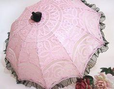 Buy Pink Lace Parasol with Black Sheer Ruffles 26 Inch. Strike a pose with this Battenberg lace umbrella as the epitome of your glamorous sense of style! Lace Umbrella, Lace Parasol, Vintage Umbrella, Under My Umbrella, Pink Lace, Blush Pink, Draculaura, Umbrellas Parasols, Character Aesthetic