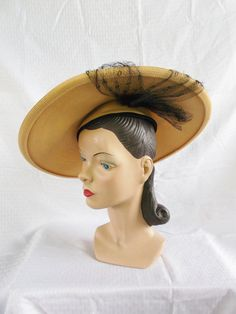 40s 50s Vintage New Look Wide Brim Hat with by MyVintageHatShop, $74.00