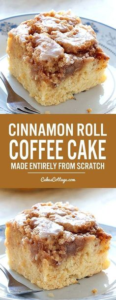 Easy Cinnamon Roll Coffee Cake is simple and quick recipe for delicious, homemade coffee cake from scratch, with ingredients that you already have in pantry. Dessert From Scratch, Cake Recipes From Scratch, Easy Cake Recipes, Easy Desserts, Keto Recipes, Breakfast Bites, Breakfast Dessert, Coffee Cake Loaf, Cupcake Cakes
