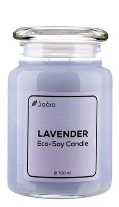 Lumanare Naturala Premium Eco-Soy Lavender Borcan de Sticla 700 ml Soy Candles, Natural, Coconut Oil, Lavender, Jar, Cosmetics, Nature, Jars, Glass