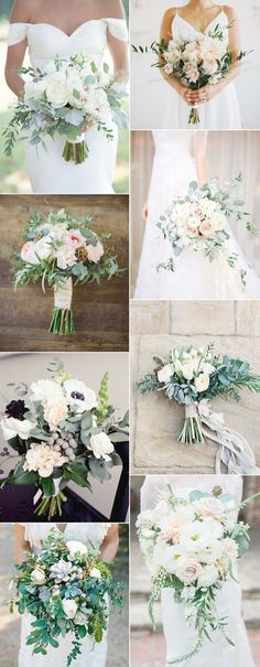 amazing wedding bouquet ideas with green floral 2017 trends. Something like this for Katie's bouquet? White Wedding Bouquets, Bride Bouquets, Floral Wedding, Wedding Colors, Bridesmaid Bouquets, Wedding Dresses, Wedding Floral Arrangements, August Wedding Flowers, Greenery Bouquets