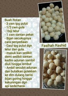 Buah rotan/redan Malaysian Dessert, Malaysian Food, Resepi Cookies, Cookie Recipes, Snack Recipes, Asian Snacks, Traditional Cakes, Recipe Cards, Kitchen Recipes