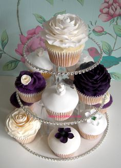 Image detail for -Full Bloom Purple Roses On Cupcakes   Wedding Cupcakes   Cupcakey