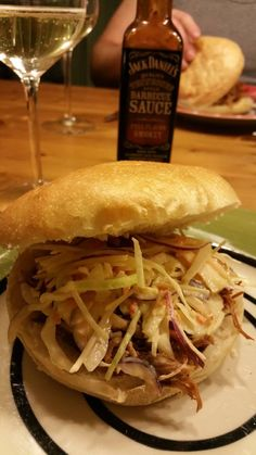 Pulled Pork Sandwich with Coleslaw Salad