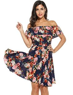 Elever Womens Casual Off Shoulder Floral Ruffle Flare Dress