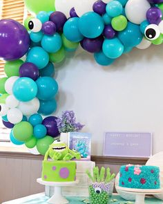 Monsters Inc Cake Table Monsters inc decor, party decor, kids party decor, kids birthday party, mons Little Monster Birthday, Monster 1st Birthdays, Monster Birthday Parties, First Birthday Parties, Birthday Party Themes, Birthday Ideas, Birthday Month, Baby Birthday, Monster Party Favors