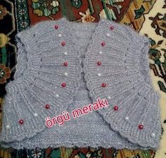 Baby Knit Vest Models New 2016 - Babykleidung Baby Knitting Patterns, Shrug Knitting Pattern, Easy Knitting, Knitting Stitches, Knit Vest, Baby Cardigan, Baby Vest, Knit Slippers Free Pattern, Knitted Slippers