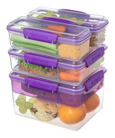 Look at this #zulilyfind! Purple Snack Attack Stacking Container Set by Sistema #zulilyfinds