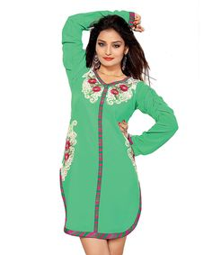 Loving this Chiro's Green & Red Floral Embroidery Shift Dress on #zulily! #zulilyfinds