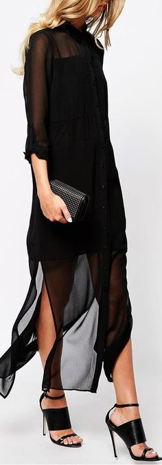 Buy River Island Longsleeve Maxi Shirt Dress at ASOS. With free delivery and return options (Ts&Cs apply), online shopping has never been so easy. Get the latest trends with ASOS now. Looks Chic, Looks Style, Look Fashion, Fashion Beauty, Womens Fashion, Fashion Styles, Lingerie Look, Maxi Shirt Dress, Sheer Maxi Dress