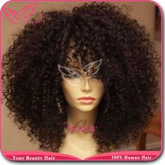 Free shipping unprocessed brazilian hair 6a grade human hair lace front & full lace afro kinky curly wig for black women