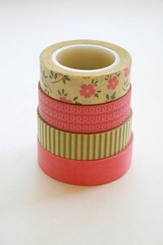 Washi Tape Set - 15mm - Combination CM - Pink Light Olive and Yellow - Four Rolls Washi Tape 13b/88/104/227$11.75