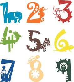 1 to 9 Animal Numbers Wall Vinyl Decals Art by sixunderatree, $35.00
