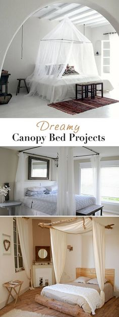 Want romance in the bedroom? Well make one of these dreamy DIY canopy bed ideas, and you've got it! (A romantic BEDROOM, that is! Home Bedroom, Bedroom Decor, Bedrooms, Bedroom Ideas, Master Bedroom, Diy Canopy, Canopy Beds, Canopy Bedroom, Bed Curtains