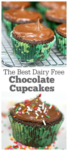 The absolute best dairy free chocolate- chocolate chip cupcakes recipe with a fabulous, rich dairy free chocolate frosting.  Our family does not have to eat dairy free, but we made these for a friend and we were delightfully surprised how delicious they turned out.  I will make them again for sure!