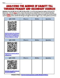 Worksheets Primary And Secondary Sources Worksheet worksheets on pinterest fantastic lesson plan activity emmett till using primary and secondary source through qr codes