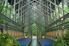 Thorncrown Chapel, in the Ozark Mountains near Eureka Springs, Arkansas
