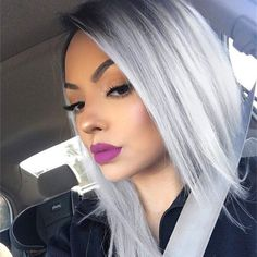 Pink Ombre Hair, Silver Blonde Hair, Gray Ombre, Ombre Bob, Silver Lavender Hair, Blonde Ombre Short Hair, Black To Silver Ombre, Short Silver Hair, Silver White Hair