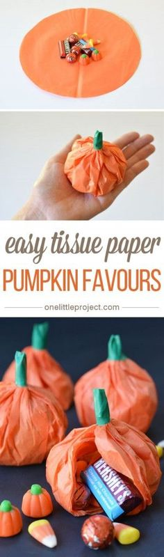 These tissue paper pumpkin favours are a great treat to send to school on Halloween or they make super cute party favours!