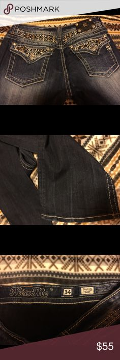 Miss me jeans Very good quality jean, only wore once. Size 34 boot cut Miss Me Jeans Boot Cut