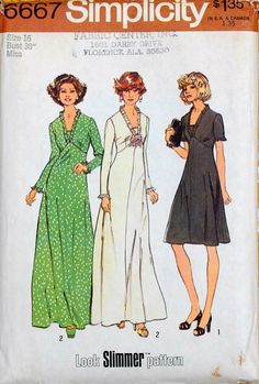 Vintage 70s Ruffle Neckline V-Neck Dress in Two Lengths Sewing Pattern Simplicity 6667 Misses Size 16 Bust 38 Look Slimmer Pattern Uncut