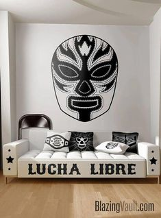 Luchador 2 Mask Wall Decal - Mexican Wrestling Mascara Lucha Libre Wrestler Nacho Libre World WWE Impact Wresting Boxing by Blazing Vault Diy Wall Stickers, Kitchen Wall Stickers, Removable Wall Stickers, Wall Decals, Luchador Mask, Mexican Wrestler, Pop Art Fashion, Mask Painting, Art Basics