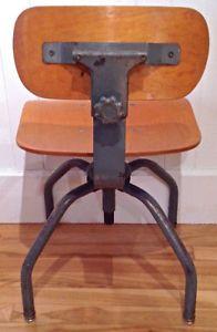 Antiquite Industriel Magnfique Chaise De Bureau En Fer Et Bois