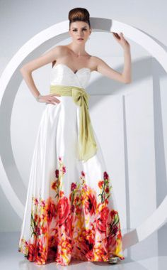 A-line Sweetheart Floor-length Elastic Silk-like Satin And Chiffon Evening Dress